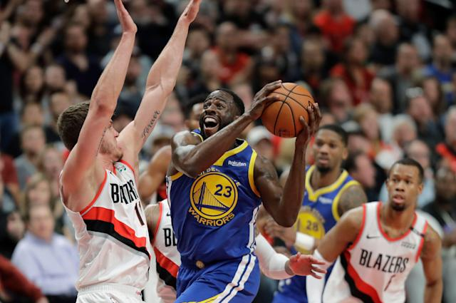 The Trail Blazers couldn't hold on after mounting an 18-point lead on Saturday, falling to the Warriors in Game 3 and into a 3-0 hole in the Western Conference finals. (AP/Ted S. Warren)