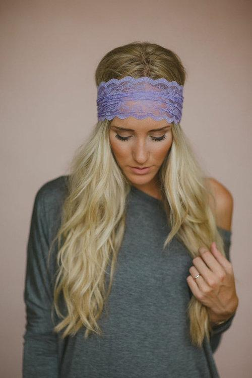 Alicia wearing a homemade purple headband