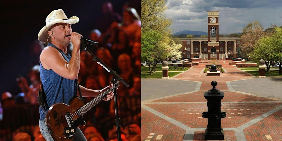 <p><strong>East Tennessee State University </strong></p><p>Although Kenny Chesney graduated with an advertising degree, he spent his free time at the university in the ETSU Bluegrass Band, where he started writing songs and continued working on his music. He played at bars and fraternity parties, recording his first demo album in Bristol, Virginia, in 1989.</p>
