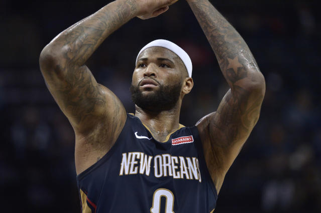 FILE - In this Jan. 10, 2018 file photo New Orleans Pelicans center DeMarcus Cousins (0) shoots a free throw in the first half of an NBA basketball game against the Memphis Grizzlies in Memphis, Tenn. Cousins will be ready to play at some point this season. And when he is, the two-time defending NBA champions will be waiting. Adding a fifth All-Star to their already glitzy lineup, the Golden State Warriors have come to terms with Cousins on a one-year, $5.3 million deal _ not the biggest money move on Day 2 of the NBA Free Agency period, but the most intriguing. (AP Photo/Brandon Dill, file)