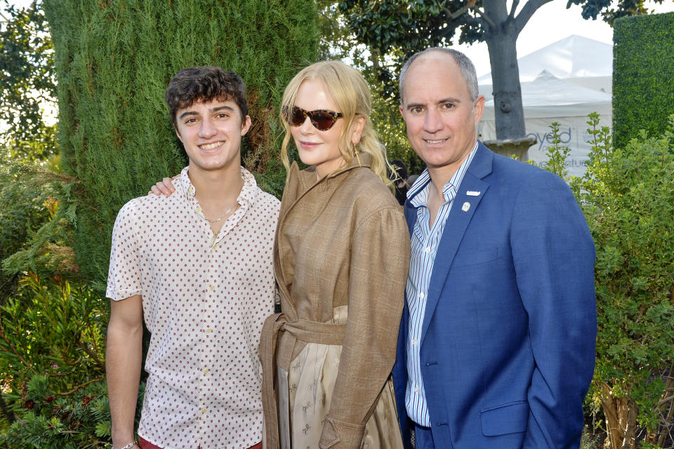 LOS ANGELES, CALIFORNIA - JANUARY 04: (L-R) Ezera Frech, Nicole Kidman and Clayton Frech attend the 7th Annual Gold Meets Golden - Inside at Virginia Robinson Gardens and Estate on January 04, 2020 in Los Angeles, California. (Photo by Jerod Harris/Getty Images)