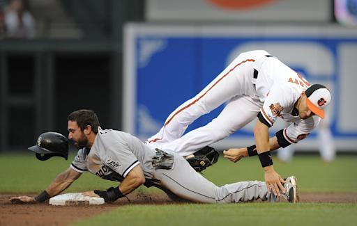 Baltimore Orioles second baseman Ryan Flaherty loses his glove with the ball in it as Chicago White Sox Adam Eaton steals second in the third inning of a baseball game, Wednesday, June 25, 2014, in Baltimore.(AP Photo/Gail Burton)
