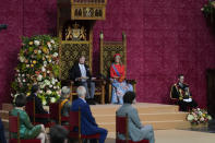 Queen Maxima listens as Dutch King Willem-Alexander marks the opening of the parliamentary year with a speech outlining the government's budget plans for the year ahead at the Grote Kerk, or Sint-Jacobus Kerk, (Great Church or St. James' Church) in The Hague, Netherlands, Tuesday, Sept. 21, 2021. (AP Photo/Peter Dejong)