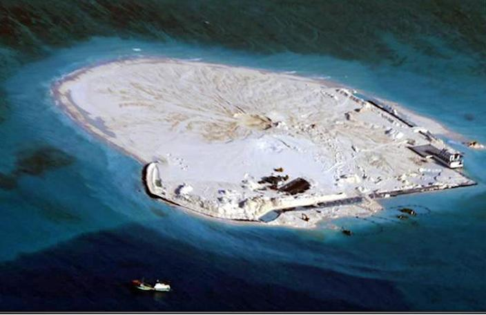 The Philippines have also alleged that China is reclaiming land on the Johnson South Reef reef, in an apparent effort to build an airstrip on the disputed territory (AFP Photo/)