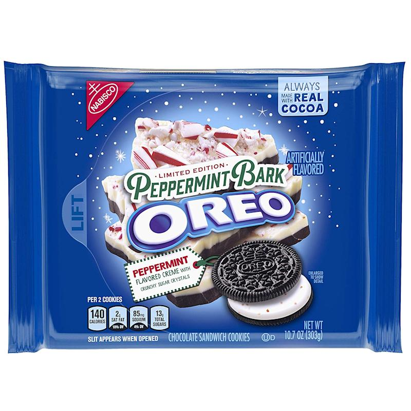 Blue package of Limited Edition Holiday Peppermint Bark Oreos