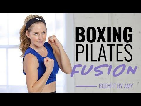 """<ul><li><strong>Equipment</strong>: Light dumbbells optional for Pilates sections</li></ul><p>A combo workout, you'll improve your cardio stamina, muscle endurance and strength oscillating between five-minute blocks of cardio kickboxing and Pilates. </p><p><a href=""""https://www.youtube.com/watch?v=rBppVGejlGk&ab_channel=BodyFitByAmy"""" rel=""""nofollow noopener"""" target=""""_blank"""" data-ylk=""""slk:See the original post on Youtube"""" class=""""link rapid-noclick-resp"""">See the original post on Youtube</a></p>"""