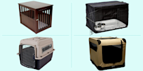 """<p>Many dog owners love crates because they keep your pup in one place while you're away, but they also make them feel secure when you're home, too. Crates give Fido somewhere to hang out when they're feeling stressed or just need some alone time, in addition to taking a snooze when you have to go to work, run errands or out on the town. </p><p>If you decide to crate train your dog, you've got a few different style options when it comes to the best dog crates. Open-sided wire crates work well if you plan to set it up and keep it in one place, and they provide good air flow and visibility. Closed-sided crates can also be used for traveling, provided you purchase one that's properly rated for transit. The same goes for soft-sided crates, although they may not last as long as heavier-duty options. When shopping for a crate, you want to ensure your dog can stand up and turn around comfortably in there. Measure your pup from the end of their nose to the tip of their tail and add 2–4 inches for the proper length, <a href=""""https://www.preventivevet.com/dogs/how-to-measure-and-choose-a-dog-crate"""" rel=""""nofollow noopener"""" target=""""_blank"""" data-ylk=""""slk:Preventive Vet advises"""" class=""""link rapid-noclick-resp"""">Preventive Vet advises</a>. Then, when they're sitting down, add 2–4 inches to the top of their head. If you plan to transport your pup in the crate, check the manufacturer's weight restrictions too. </p><p>While your furry friend is on the mind, don't forget to explore our guides to the <a href=""""https://www.goodhousekeeping.com/life/pets/g5121/best-dog-toys/"""" rel=""""nofollow noopener"""" target=""""_blank"""" data-ylk=""""slk:best dog toys"""" class=""""link rapid-noclick-resp"""">best dog toys</a> and <a href=""""https://www.goodhousekeeping.com/life/pets/g23026561/homemade-dog-treats/"""" rel=""""nofollow noopener"""" target=""""_blank"""" data-ylk=""""slk:homemade dog treat"""" class=""""link rapid-noclick-resp"""">homemade dog treat</a> recipes to keep 'em happy!</p>"""