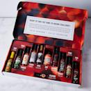 "For the hot sauce addict who can never choose just one, this explorative box is just what the doctor ordered. Best paired with their next ""Hot Ones"" marathon. If he wants the sauce to keep coming, consider a <a href=""https://fave.co/3jGs1to"" rel=""nofollow noopener"" target=""_blank"" data-ylk=""slk:subscription box"" class=""link rapid-noclick-resp"">subscription box</a> instead. $135, Food52. <a href=""https://food52.com/shop/products/7243-tame-insane-hot-sauce-box"" rel=""nofollow noopener"" target=""_blank"" data-ylk=""slk:Get it now!"" class=""link rapid-noclick-resp"">Get it now!</a>"