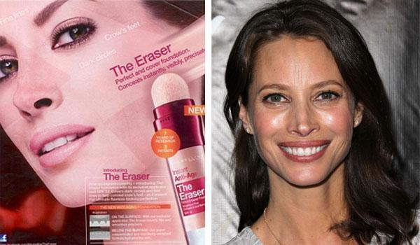 ChristyTurlington: In a Maybelline ad for The Eraser foundation image appears to enhanced parts of Christy Turlington's face to look lighter. Photo Maybelline