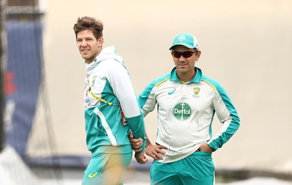 Seen here, Australia coach Justin Langer (right) and Test captain Tim Paine during a nets session in 2021.