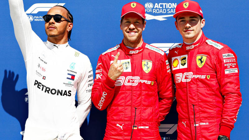 Lewis Hamilton (pictured left), Sebastian Vettel (pictured middle) and Charles Leclerc (pictured right). (Getty Images)