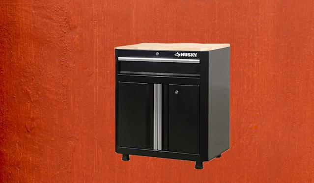 The cabinet arrives pre-assembled — you only need to attach the feet. (Photo: Home Depot)