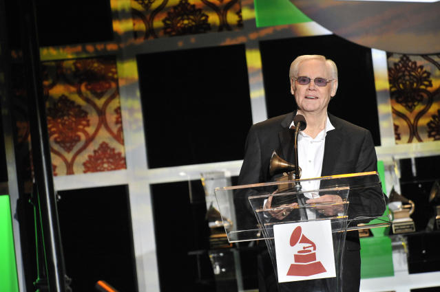 LOS ANGELES, CA - FEBRUARY 11: George Jones recieves his award at the 54th Annual Grammy Special Merit Awards at The Wilshire Ebell Theatre on February 11, 2012 in Los Angeles, California. (Photo by Toby Canham/Getty Images)