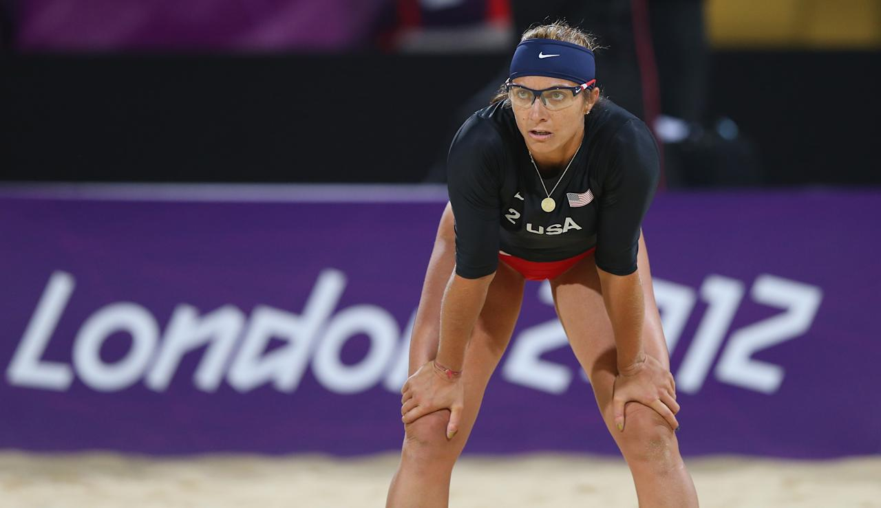 LONDON, ENGLAND - JULY 28: Misty May-Treanor of the United States looks on during the Women's Beach Volleyball Preliminary Round on Day 1 of the London 2012 Olympic Games at Horse Guards Parade on July 28, 2012 in London, England.  (Photo by Ryan Pierse/Getty Images)