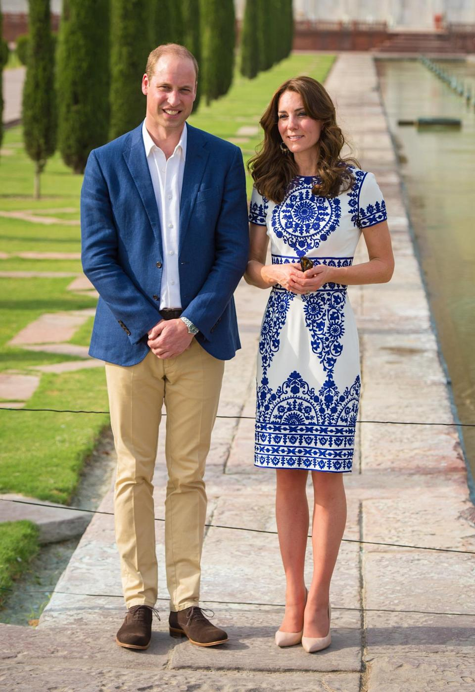 <p>The Duchess's trip to the Taj Mahal saw her in an embroidered blue-and-white dress by Indian designer Naeem Khan paired with her favourite L.K. Bennett heels. </p><p><i>[Photo: PA]</i></p>