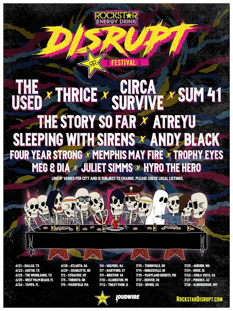 Inaugural Disrupt Festival to tour across North America with The Used, Thrice, Circa Survive, Sum 41, and more