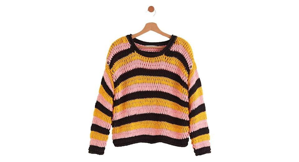 """<p>It might be summer but the UK is still prone to those chilly evenings. Snuggly up in this gorgeous striped Mango number. <br><a rel=""""nofollow noopener"""" href=""""https://shop.mango.com/gb/women/cardigans-and-sweaters-sweaters/oversize-crochet-sweater_33011001.html?c=99&n=1&s=nuevo"""" target=""""_blank"""" data-ylk=""""slk:Buy here."""" class=""""link rapid-noclick-resp"""">Buy here.</a> </p>"""