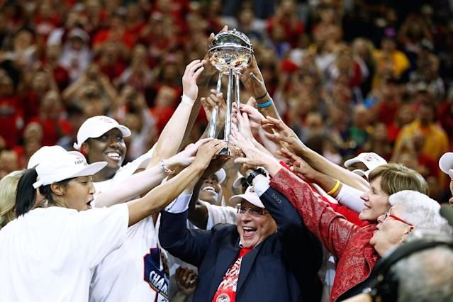 INDIANAPOLIS, IN - OCTOBER 21: Owner Herb Simon of the Indiana Fever hoists the WNBA Championship trophy after defeating the Minnesota Lynx in Game Four of the 2012 WNBA Finals on October 21, 2012 at Bankers Life Fieldhouse in Indianapolis, Indiana. NOTE TO USER: User expressly acknowledges and agrees that, by downloading and or using this Photograph, user is consenting to the terms and conditions of the Getty Images License Agreement. (Photo by Michael Hickey/Getty Images)