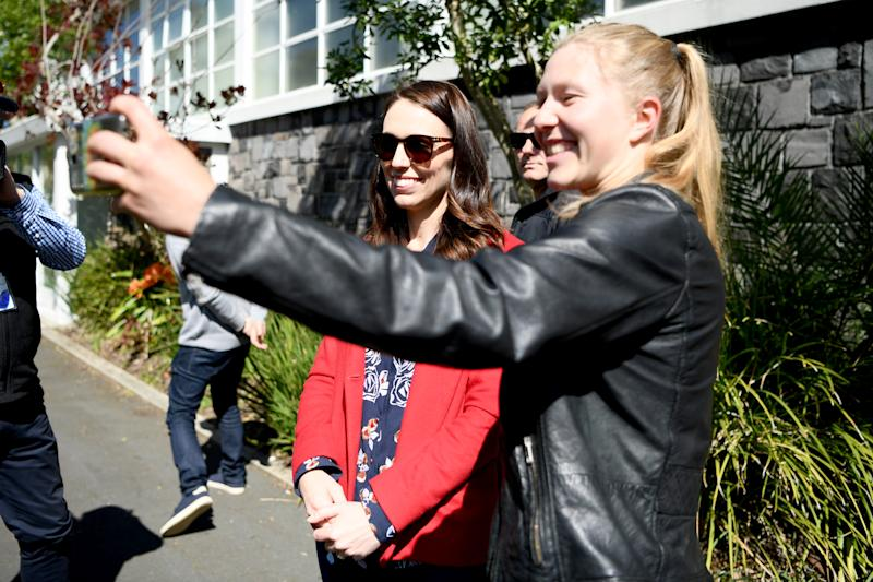AUCKLAND, NEW ZEALAND - OCTOBER 03: New Zealand Prime Minister Jacinda Ardern poses for a photo after voting at the Mt Eden War Memorial Hall on October 03, 2020 in Auckland, New Zealand. The 2020 New Zealand General Election was originally due to be held on Saturday 19 September but was delayed due to the re-emergence of COVID-19 in the community. (Photo by Hannah Peters/Getty Images)