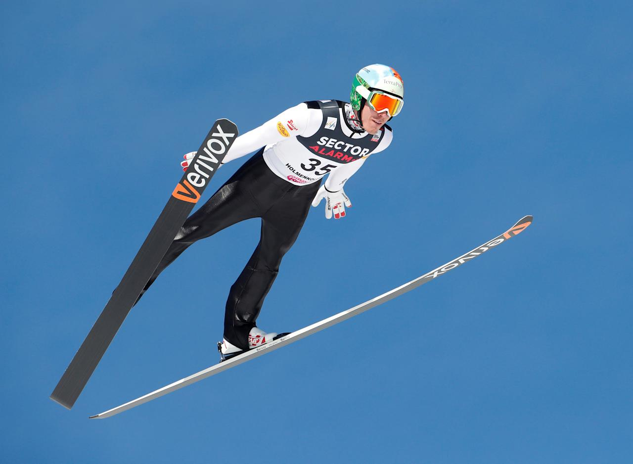 REFILE - ADDING RESTRICTIONS  Skiing -  Holmenkollen FIS World Cup Nordic - Nordic Combined ski jumping - Oslo, Norway - 11/03/2017.  Franz-Josef Rehrl of Austria competes.  NTB Scanpix/Terje Bendiksby/via REUTERS   ATTENTION EDITORS - THIS IMAGE WAS PROVIDED BY A THIRD PARTY. FOR EDITORIAL USE ONLY. NORWAY OUT. NO COMMERCIAL SALES.