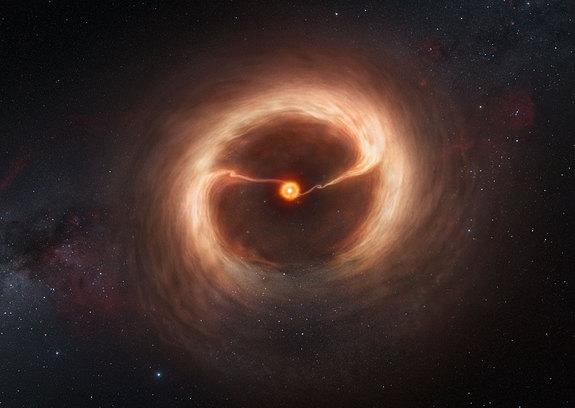 This artist's impression shows the disk of gas and cosmic dust around the young star HD 142527. Astronomers using the Atacama Large Millimeter/submillimeter Array (ALMA) telescope have seen vast streams of gas flowing across the gap in the disc