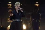 Pink accepts the Icon award at the Billboard Music Awards, Friday, May 21, 2021, at the Microsoft Theater in Los Angeles. The awards show airs on May 23 with both live and prerecorded segments. (AP Photo/Chris Pizzello)
