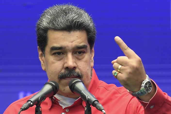 Venezuela's President Nicolas Maduro speaks during a press conference after he voted in the ruling party's primary elections of United Socialist Party of Venezuela, at the Escuela Ecológica Bolivariana Simón Rodríguez in the Fuerte Tiuna neighborhood of Caracas, Venezuela, Sunday, Aug. 8, 2021. (AP Photo/Matias Delacroix)