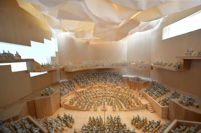 """Gehry's model for the larger of two Colburn School concert halls. <span class=""""copyright"""">(Gehry Partners LLP)</span>"""