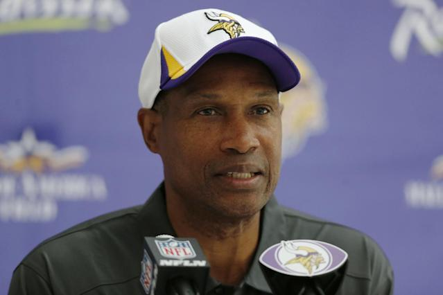 Minnesota Vikings' head coach Leslie Frazier speaks to the media during a press conference at the Grove Hotel in Watford, north London, Wednesday, Sept. 25, 2013. Vikings play Pittsburgh Steelers on Sunday in a NFL regular season football game at Wembley Stadium in London. (AP Photo/Sang Tan)