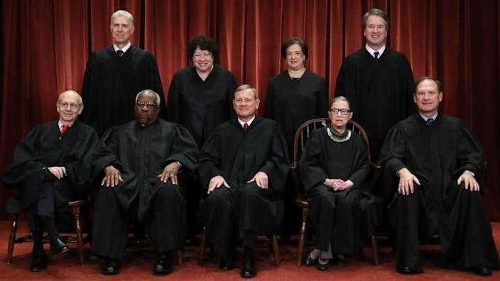 The Supreme Court justices pose for their official portrait in 2018