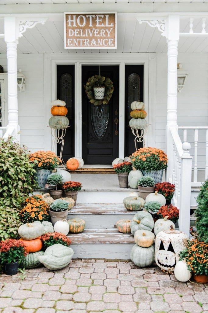 """<p>You wouldn't know by looking at it, but that Jack-o'-lantern at the bottom right of the steps is actually a decorated propane tank. </p><p><strong>Get the tutorial at <a href=""""https://www.lizmarieblog.com/2016/09/rustic-fall-farmhouse-steps/"""" rel=""""nofollow noopener"""" target=""""_blank"""" data-ylk=""""slk:Liz Marie Blog"""" class=""""link rapid-noclick-resp"""">Liz Marie Blog</a>.</strong></p><p><a class=""""link rapid-noclick-resp"""" href=""""https://go.redirectingat.com?id=74968X1596630&url=https%3A%2F%2Fwww.walmart.com%2Fsearch%2F%3Fquery%3Dflower%2Bpots&sref=https%3A%2F%2Fwww.thepioneerwoman.com%2Fholidays-celebrations%2Fg32894423%2Foutdoor-halloween-decorations%2F"""" rel=""""nofollow noopener"""" target=""""_blank"""" data-ylk=""""slk:SHOP FLOWER POTS"""">SHOP FLOWER POTS</a></p>"""