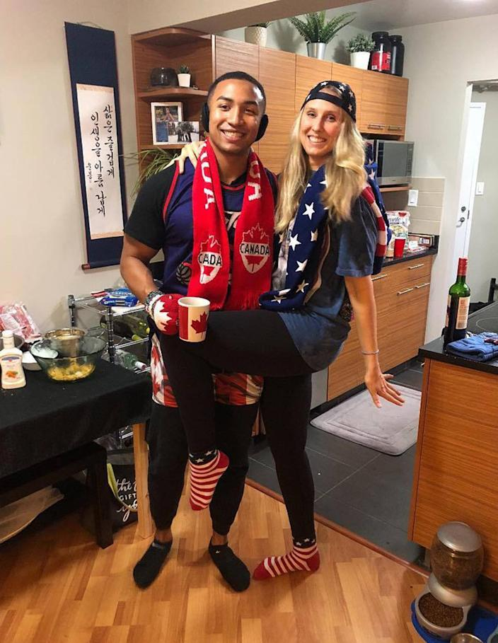 Leah Bosello and Nick Smith have been in a long-distance relationship for five years and finally moved closer together except he lived in the United States and she lived in Canada. (TODAY)