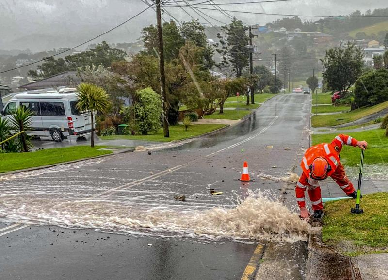 A street in Kiama is pictured covered in water.