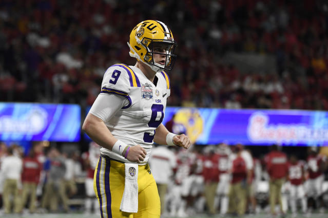 LSU quarterback Joe Burrow (9) walks off the field during the second half of the Peach Bowl NCAA semifinal college football playoff game against Oklahoma, Saturday, Dec. 28, 2019, in Atlanta. (AP Photo/Danny Karnik)