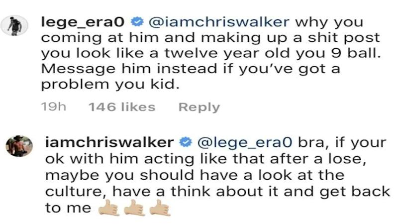 Seen here is an example of the dialogue between Payne Haas and Chris Walker on Instagram.