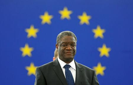 FILE PHOTO:  Congolese gynaecologist Denis Mukwege attends an award ceremony to receive his 2014 Sakharov Prize at the European Parliament in Strasbourg November 26, 2014. Mukwege is specialized in the treatment of rape victims and founder of the Panzi Hospital in Bukavu, in the Democratic Republic Congo. REUTERS/Vincent Kessler/File Photo
