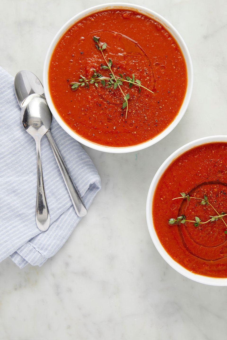 "<p>The fastest and most classic soup. Simplicity is sometimes best. </p><p>Get the recipe from <a href=""https://www.delish.com/cooking/recipe-ideas/a23513895/classic-tomato-soup-recipe/"" rel=""nofollow noopener"" target=""_blank"" data-ylk=""slk:Delish"" class=""link rapid-noclick-resp"">Delish</a>. </p>"