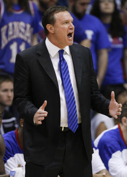 Kansas head coach Bill Self yells out instructions to his team in the second half of an NCAA college basketball game against Texas, Saturday, March 3, 2012, in Lawrence, Kan. Kansas won 73-63. (AP Photo/Ed Zurga)