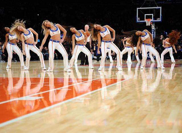 NEW YORK, NY - OCTOBER 25: The Knicks City Dancers perform during the game between the New York Knicks and the Charlotte Bobcats at Madison Square Garden on October 25, 2013 in New York City. (Photo by Maddie Meyer/Getty Images)