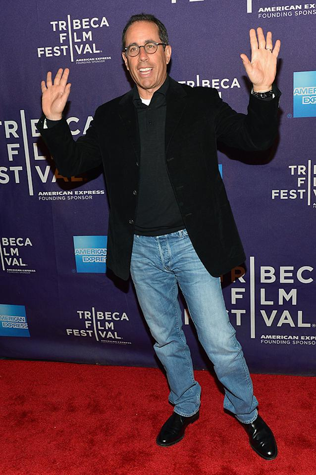 "NEW YORK, NY - APRIL 22: Comedian Jerry Seinfeld attends the ""Kiss The Water"" Premiere during the 2013 Tribeca Film Festival on April 22, 2013 in New York City. (Photo by Slaven Vlasic/Getty Images for Tribeca Film Festival)"