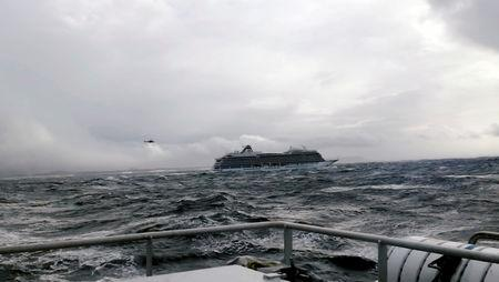 A cruise ship Viking Sky drifts towards land after an engine failure, Hustadvika, Norway March 23, 2019, in this still image obtained from a social media video. IVER ANDREAS TUENE/via REUTERS