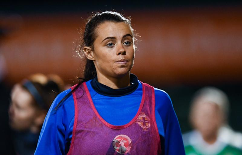Northern Ireland , United Kingdom - 19 September 2017; Laura Rafferty of Northern Ireland following the 2019 FIFA Women's World Cup Qualifier Group 3 match between Northern Ireland and Republic of Ireland at Mourneview Park in Lurgan, Co Armagh. (Photo By Stephen McCarthy/Sportsfile via Getty Images)