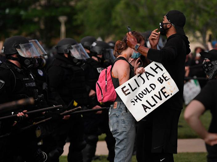 Elijah McClain protesters come face to face with Aurora, Colorado police on June 27, 2020.