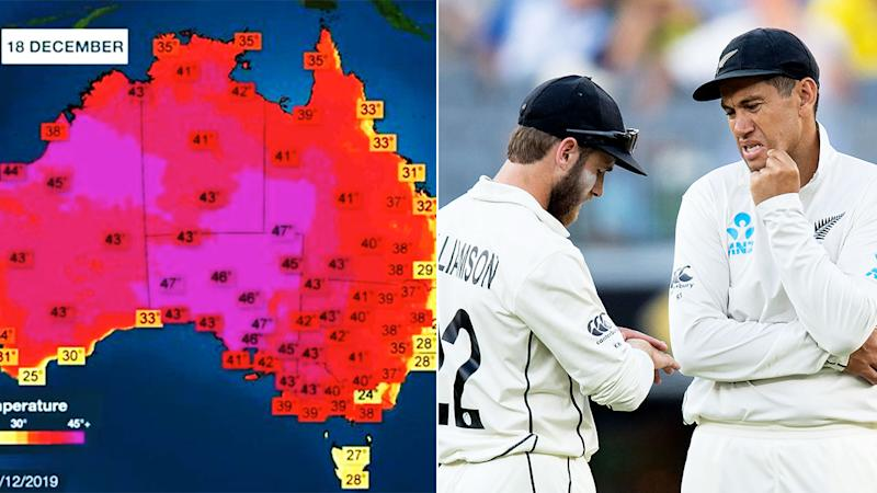 New Zealand were forced to postpone the opening day of their tour match due to extreme heat predicted for Melbourne on Friday. Pic: BOM/Getty