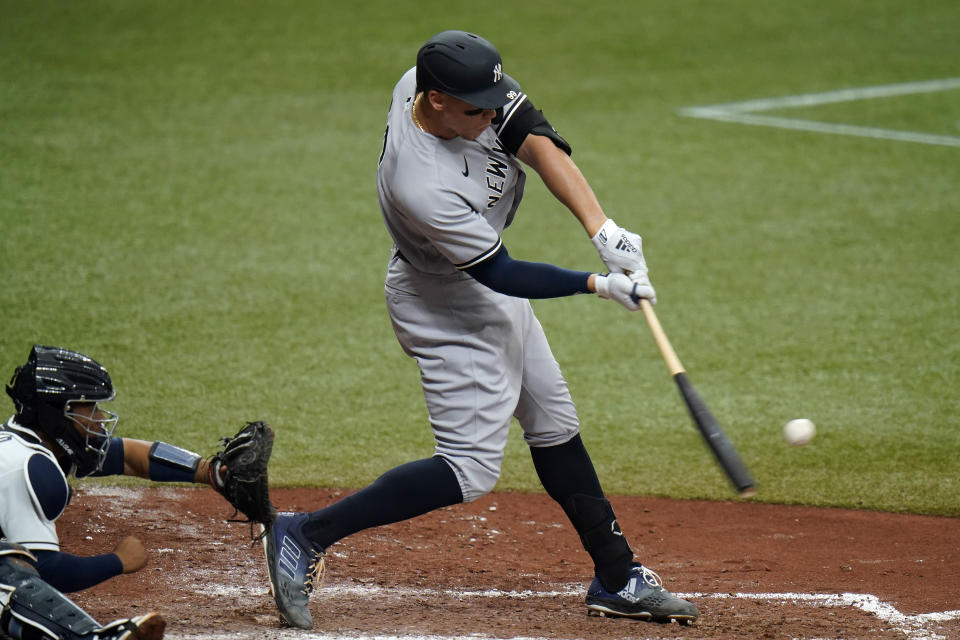 New York Yankees' Aaron Judge lines a single off Tampa Bay Rays relief pitcher Jeffrey Springs during the fifth inning of a baseball game Saturday, April 10, 2021, in St. Petersburg, Fla. (AP Photo/Chris O'Meara)