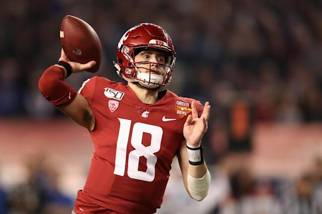 Washington State quarterback Anthony Gordon started slowly but improved throughout the week at the 2020 Senior Bowl. (Photo by Christian Petersen/Getty Images)