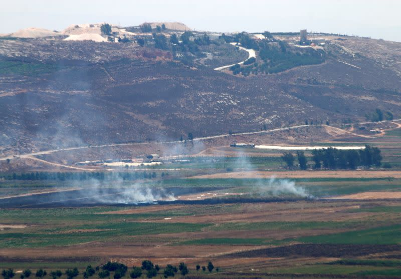 Smoke rises as seen from Marjayoun, near the border with Israel
