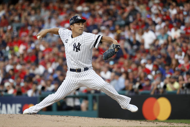 American League Masahiro Tanaka, of the New York Yankees, throws during the second inning of the MLB baseball All-Star Game against the National League, Tuesday, July 9, 2019, in Cleveland. (AP Photo/John Minchillo)