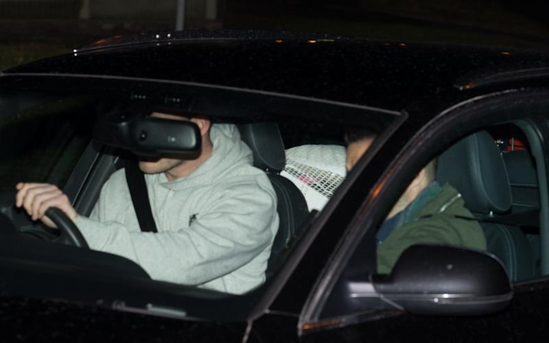 Sgt Blackman is hidden in the back seat as he is driven from HMP Erlestoke - Credit: Davis Hedges/SWNS