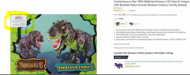 The Rong Kai Toys Dinosaur Century Tyrannosaurus Rex toy listed on Amazon Marketplace. Source: Which?
